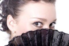 Mujer con el ventilador Imágenes de archivo libres de regalías
