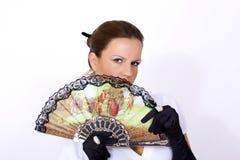 Mujer con el ventilador oriental Imagenes de archivo