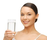 Mujer con el vidrio de agua Fotos de archivo