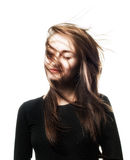 Mujer con el viento en el pelo Imagen de archivo