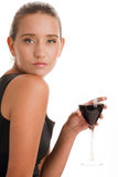 Mujer con el vino Fotografía de archivo libre de regalías