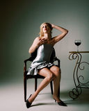 Mujer con el vino Fotos de archivo libres de regalías