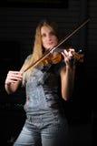 Mujer con el violín Fotografía de archivo libre de regalías