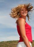 Mujer con el vuelo del pelo Foto de archivo