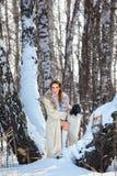 Mujer con el wolfhound al aire libre Foto de archivo libre de regalías