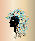 Mujer con estilo de pelo natural de los elementos stock de ilustración