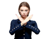 Mujer con gesto de X Fotografía de archivo libre de regalías