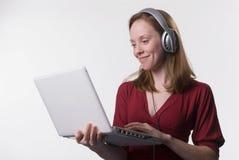 Mujer con headphones-02 Foto de archivo