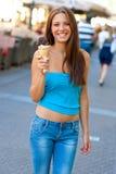Mujer con helado Imagenes de archivo