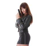 Mujer con la arma de mano Imagen de archivo