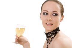 Mujer con la bebida Imagenes de archivo