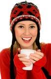 Mujer con la bebida caliente Imagenes de archivo