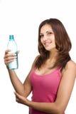 Mujer con la botella de agua Imágenes de archivo libres de regalías