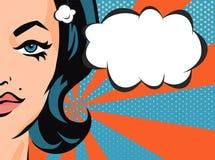Mujer con la burbuja cómica del discurso Bandera del vector en estilo del arte pop Imagen de archivo