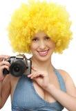 Mujer con la cámara Foto de archivo