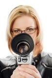 Mujer con la cámara de película Imagen de archivo libre de regalías