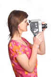 Mujer con la cámara de película vieja Imagen de archivo