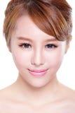 Mujer con la cara de la belleza y la piel perfecta Imagen de archivo libre de regalías