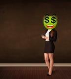 Mujer con la cara del smiley de la muestra de dólar Imagen de archivo
