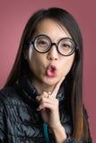 Mujer con la cara divertida Fotografía de archivo
