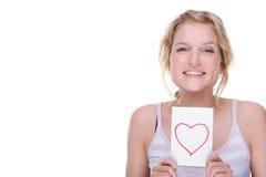 Mujer con la carta de amor Fotografía de archivo libre de regalías