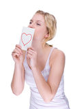 Mujer con la carta de amor Imagen de archivo libre de regalías