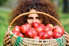 Mujer con la cesta llena de manzanas Imagen de archivo libre de regalías