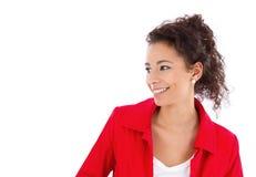 Mujer con la chaqueta roja Imagen de archivo