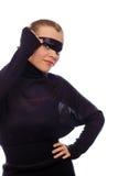 Mujer con la cinta negra en ojos Imagenes de archivo