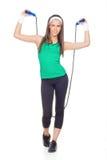 Mujer con la cuerda de salto Foto de archivo
