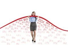 Mujer con la curva de las estadísticas Foto de archivo libre de regalías
