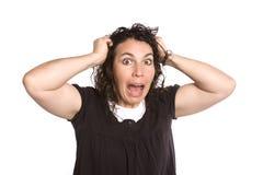 Mujer con la expresión frazzled fotografía de archivo