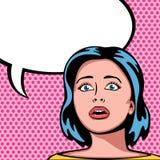 Mujer con la expresión sorprendida Ilustración del Vector