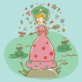 Mujer con la flecha del cupido Concepto de amor para el día de tarjeta del día de San Valentín Ilustración del vector Imagenes de archivo