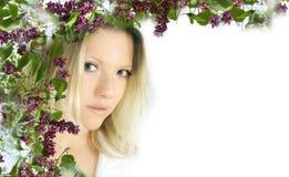mujer con la flor Foto de archivo libre de regalías