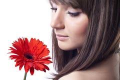 Mujer con la flor Imagen de archivo