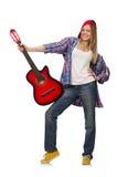 mujer con la guitarra fotografía de archivo libre de regalías