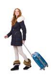 Mujer con la maleta Foto de archivo libre de regalías