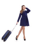 Mujer con la maleta imagen de archivo