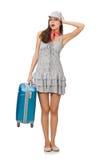 Mujer con la maleta aislada Foto de archivo