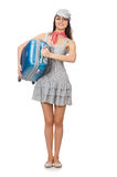 Mujer con la maleta aislada Imagen de archivo
