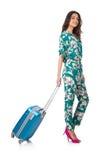 Mujer con la maleta lista imagenes de archivo