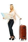 Mujer con la maleta y el mapa Foto de archivo libre de regalías
