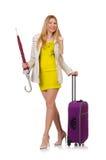 Mujer con la maleta y el paraguas Foto de archivo