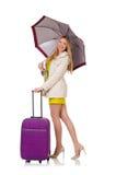 Mujer con la maleta y el paraguas Fotografía de archivo