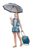 Mujer con la maleta y el paraguas aislados Imagen de archivo
