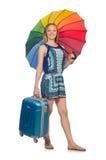 Mujer con la maleta y el paraguas aislados Imagen de archivo libre de regalías