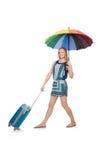 Mujer con la maleta y el paraguas aislados Fotografía de archivo libre de regalías