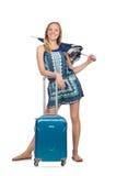 Mujer con la maleta y el paraguas aislados Foto de archivo