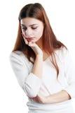 Mujer con la mano en el pensamiento principal Imagen de archivo